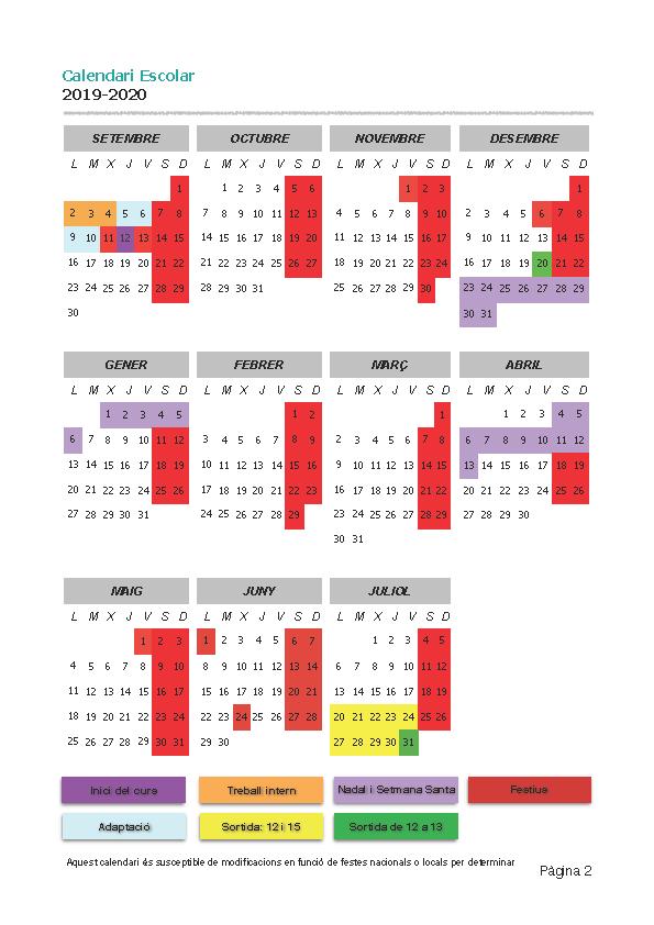 Calendari Cirerers 2019-20